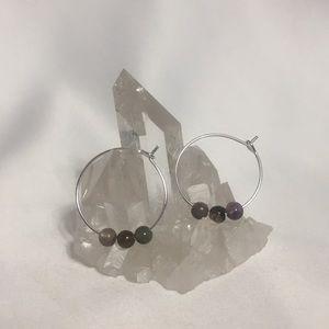 TOURMALINE Gemstone Hoop Earrings- NEW